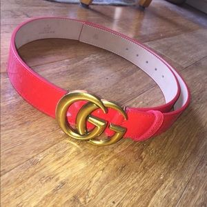 "Red Leather Gucci ""GG"" Belt"